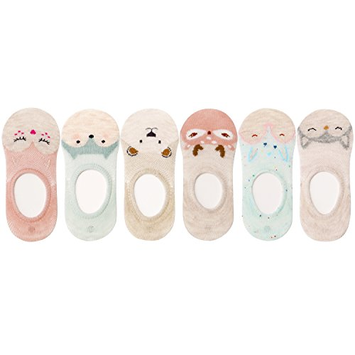 Show Footies - VWU 6 Pack Baby No Show Socks Toddler Low Cut Cotton Socks Animal 0-3Y (1-3 years old)