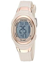 Armitron Sport Women's 45/7034PBH Rose Gold-Tone Accented Digital Chronograph Blush Pink Resin Strap Watch