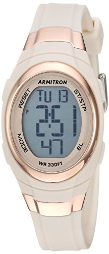 Digital 5 Jelly Sport (Armitron Sport Women's 45/7034PBH Rose Gold-Tone Accented Digital Chronograph Blush Pink Resin Strap Watch)