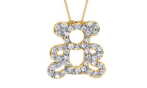 Jewel Zone US White Natural Diamond Teddy Bear Pendant Necklace in 14k Yellow Gold Over Sterling Silver (1/4 Ct)
