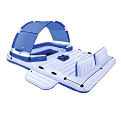 Beat the heat this summer with all of your friends on the Bestway CoolerZ Tropical Breeze 6 Person Floating Island Lounge. Featuring a built in carry along cooler and a removable canopy you can cool off in more ways then one. The all around g...