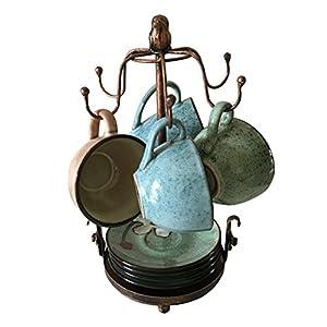 Creation Core Vintage Bronze Iron Coffee Cup Holder Storage Premium Rustic Tea Mug and Saucer Display Rack Holds 6 Cups