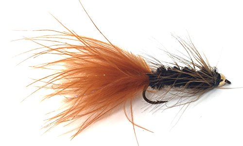 Bead Head Wooly Bugger Fly Fishing Flies for Trout and Other Freshwater Fish - One Dozen Wet Flies - 4 Size Assortment 6, 8, 10, 12 (3 of Each Size) / Hand Tied (Black and Brown)