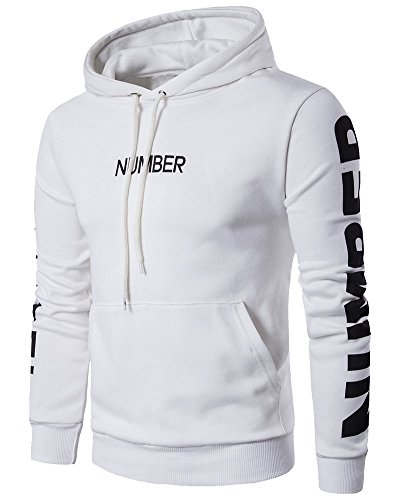 À Longues Vêtements Blanc Sweat Manches Capuche Sweat shirt Sport Homme De qRvUcPt