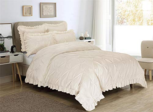 HIG 5 Piece Comforter Set Queen-Ivory Color Microfiber Pinch Pleat Scallop Fringe -Hania Bedding Collection Queen Size-Soft, Hypoallergenic,Fade Resistant-1 Comforter,2 Standard Shams,2 Euro Shams
