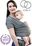 Baby Wrap Carrier & Ring Sling for Newborn, Infants & Toddlers by Bonne Vie Baby | Breathable & Comfortable Cotton Wrap | Baby Wearing Made Easy | Boy Girl Baby Shower Gift & Registry Must Haves