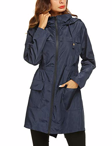 Romanstii Womens Lightweight Windbreakers Outdoor Hooded Sports Outwear Quick Dry Jacket Travel Packable Active Sportswear Jacket Navy Blue Small
