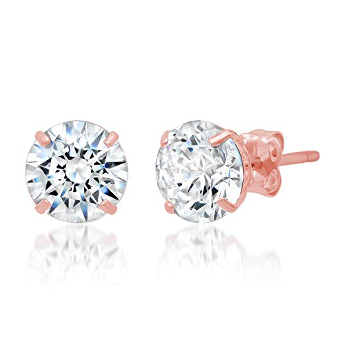 14k Solid Rose Gold ROUND Stud Earrings with Genuine Swarovski Zirconia | 2.5 CT.TW. | With Gift Box