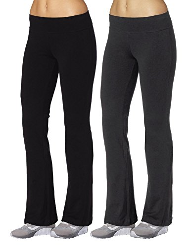 Aenlley Womens Workout BootLeg Athletica Yoga Pants Spanx Gym Fitness Activewear Color Black+Grey Size S