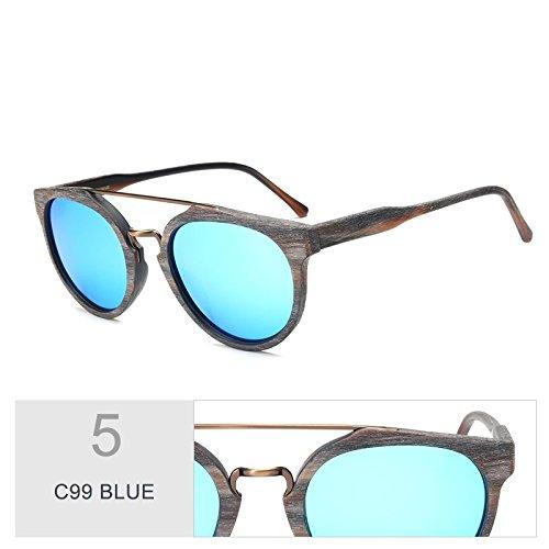 Gafas Sol Acetato Negro Gafas De Gafas Madera Tendencia De Anti Polarizadas C10 Retro Hoja Uv400 En BLUE De Sol Revestimiento Madera TIANLIANG04 De C99 8fnv01fq