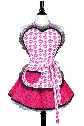 Sweetheart Pouty Pink Kissy Lips Womens Sexy Pinup Apron - Personalize Option