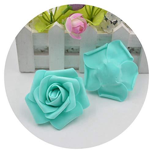 Mo Duo Fake Flowers 100pcs 7cm Artificial Flower Foam Rose Handmade Artificial Flower Wedding Decoration Clipboard Puff Flower,Tiffany Blue (Tiffany Blue Clipboard)