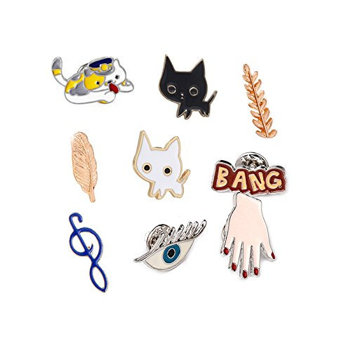 Famous Jaese style notes cute cartoon cat brooch badge feather suit couples men and women