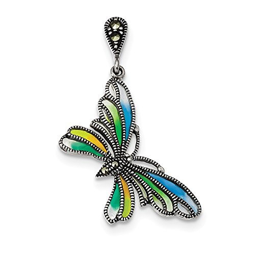 Marcasite Multi Colored Earrings - 925 Sterling Silver Marcasite and Multi Color Epoxy Butterfly Earrings (39mm x 25mm)