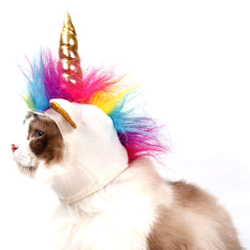 NACOCO Pet Unicorn Hat for Cats and Small Dogs Puppy, Cat Costume Accessory for Halloween, Cosplay Mane Cap