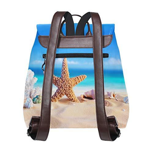 Kvinnor PU-läder havsskal och sjöstjärna på stranden ryggsäck handväska resa skola axelväska ledig dagpackning
