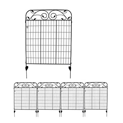 MTB Black Coated Steel Decorative Garden Fence Panel