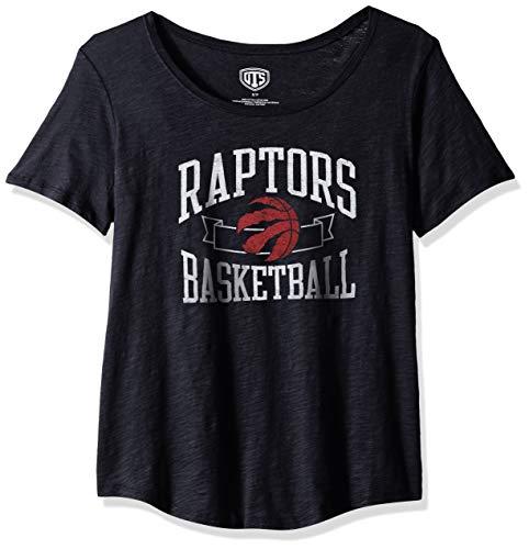 OTS NBA Toronto Raptors Female Slub Boyfriend Tee Distressed, Jet Black, Medium