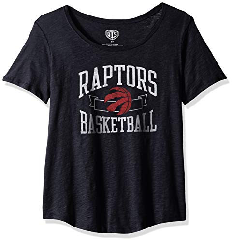 OTS NBA Toronto Raptors Female Slub Boyfriend Tee Distressed, Jet Black, Small