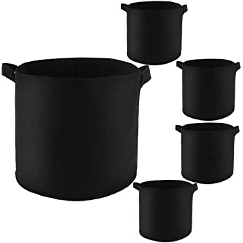 betoores 5 pack 3 gallon grow bags flower plant container thicken aeration fabric. Black Bedroom Furniture Sets. Home Design Ideas