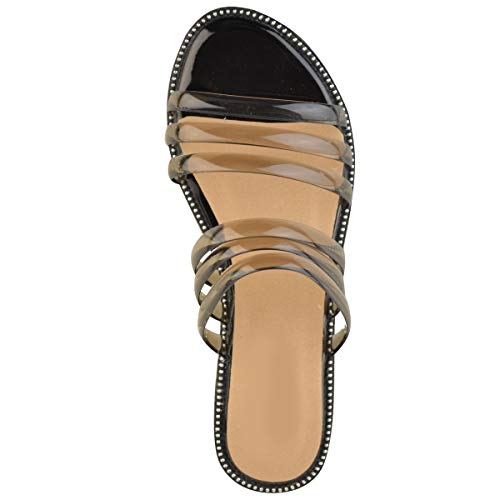 Verano Vacaciones Tacón Bajo Thirsty Fashion Heelberry Plano Patente Tiras Gel Claro Mujer Negro Playa Perspex Sandalias Por twqPtxX