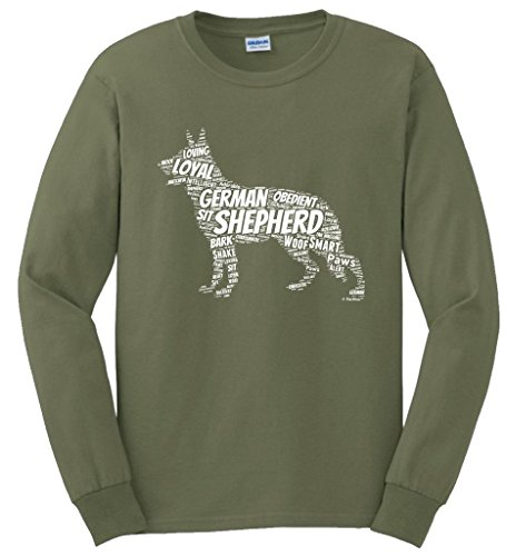 Dog Clothes German Shepherd Word Art Dog Puppy Owner Gift Long Sleeve T-Shirt Small (Word For Halloween In German)