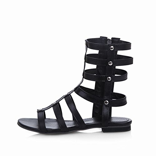 Carolbar Womens Gladiator Style Zip Simple Fashion Comfort Flats Sandals Black C41wo