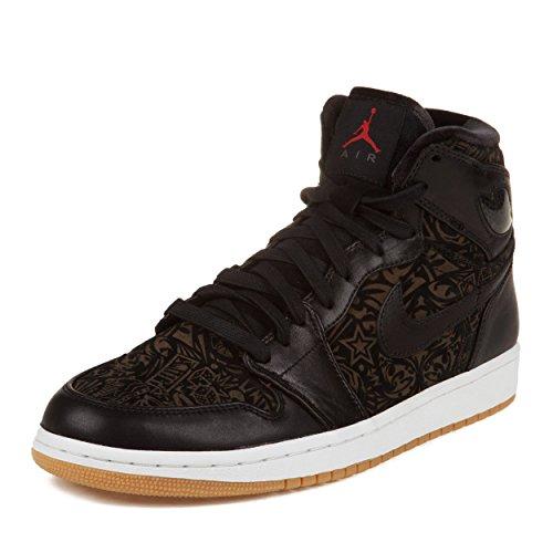 Nike Mens Air Jordan 1 Retro Hi Premier Laser Svart / Varsity Röd-vit Läder Basketskor Storleksanpassar 9,5