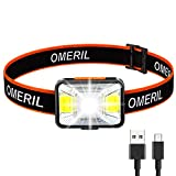 OMERIL Rechargeable Headlamp Flashlight - 200 Lumen LED Headlamp with Spotlight and Floodlight, 5 Lighting Modes, 9 LED Lights, IPX5 Waterproof Headlight for Running, Camping, Hiking, Hunting -  OMRERIL