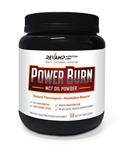 Power Burn MCT Oil Powder by Revamp Nutrition Labs: Keto Diet, Coconut Concentrate, Healthy Omega, Zero Sugar, Increases Energy and Focus. (45 Servings) by REVAMP NUTRITION LABS