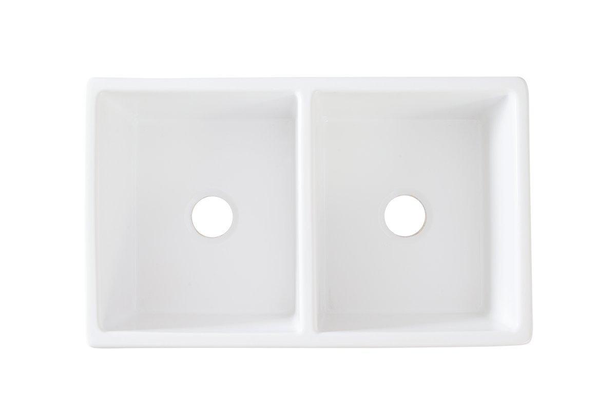 """Barkano 33"""" Double Bowl White Farmhouse Kitchen Sink ..."""