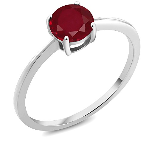 10K White Gold Engagement Promise 1.00 Ct Round Red by Gem Stone King