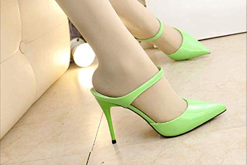 AWXJX Sommersaison Frauen Frauen Frauen Flip Flops Wies Baotou High Heel Hälfte Ziehen Fein mit Grün 7 US 37.5 EU 4.5 UK 7b1b15