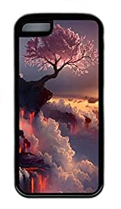 for iphone 5/5S Case Nature Flowering Fire TPU for iphone 5/5S Case Cover Black