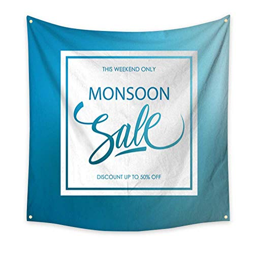 Anshesix Flower Tapestry Monsoon Sale Card with calligraphic Lettering Text Design on Blue Blurred Background for Monsoon Seasonal Shopping Large tablecloths Wall Tapestry 32W x 32L Inch
