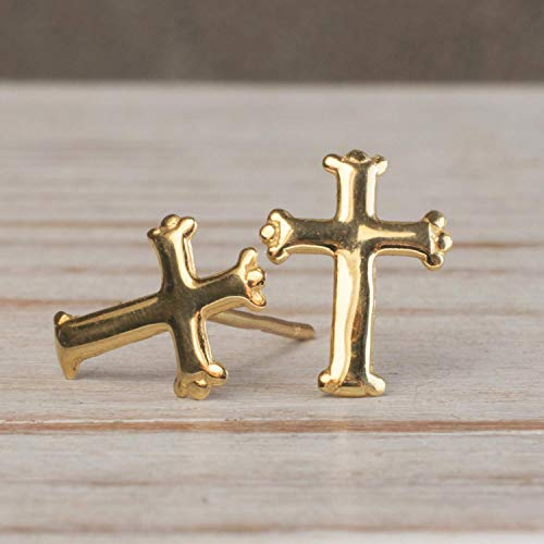 14K Gold Cross Earrings, 14K Solid Yellow Gold Cross Studs, Tiny Handmade Dainty Holy Christ Jewelry, Pushback Closure Stud Earrings, Simple Minimalist Birthday Gift for Christian Girls and Women