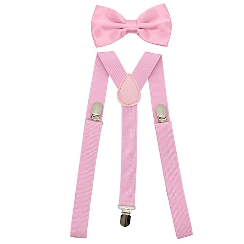 SunTrade Men Women Clip-on Suspenders Elastic Y-Shape Adjustable with Clips and Bow Tie(Pink) (Girl Suspenders Teen)