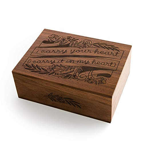 I Carry Your Heart E.E. Cummings Laser Cut Wood Keepsake Box [Valentine's Day/Wedding Gift/Anniversary/Baby Shower/Love/Heirloom/Mother's Day Gift]