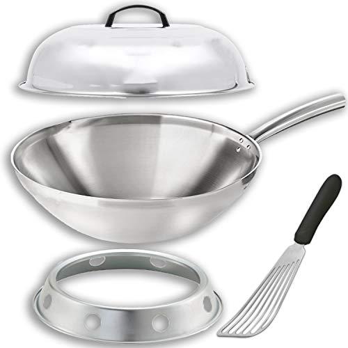 "Wok Pan Stir Fry Kit Includes 14"" Wok Pan + Lid with Handl"