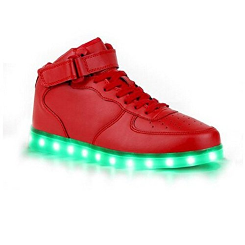 [Present:small towel]JUNGLEST® 7 Color USB Charging LED Light Flashing High Shoes for Lovers Boys Girls Men Women (Ship c23 xptfivtRq