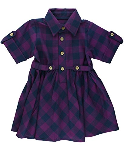 RuffleButts Baby/Toddler Girls Plum and Navy Buffalo Plaid Short Sleeve Babydoll Dress - 3-6m (Plum Navy)