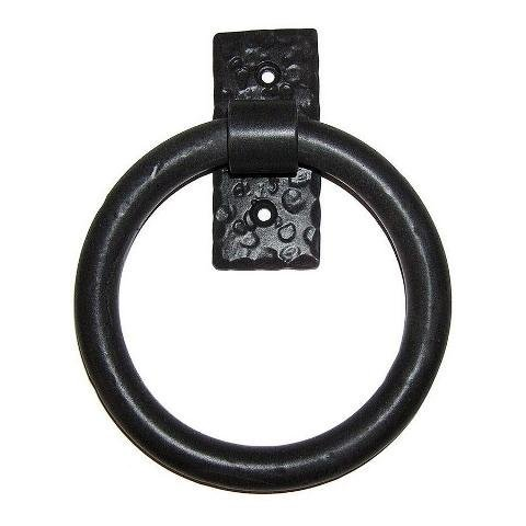 Agave Ironworks Smooth Ring Knocker/Pull, Flat Black Finish Iron Ring Door Knocker