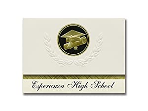 Signature Announcements Esperanza High School (Anaheim, CA) Graduation Announcements, Presidential style, Basic package of 25 Cap & Diploma Seal. Black & Gold.