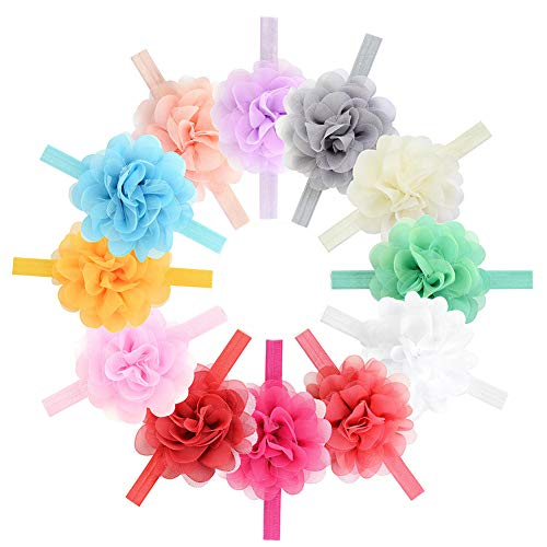 12Pcs Baby Girls Headbands Chiffon Flower Lace Hair Band Accessories for Newborns Infants Toddlers
