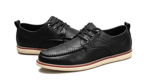 MHB Men's Wingtip Perforated Casual Leather Shoes Cap-toe British Style Laces Oxfords 8.5in - British Triathalon