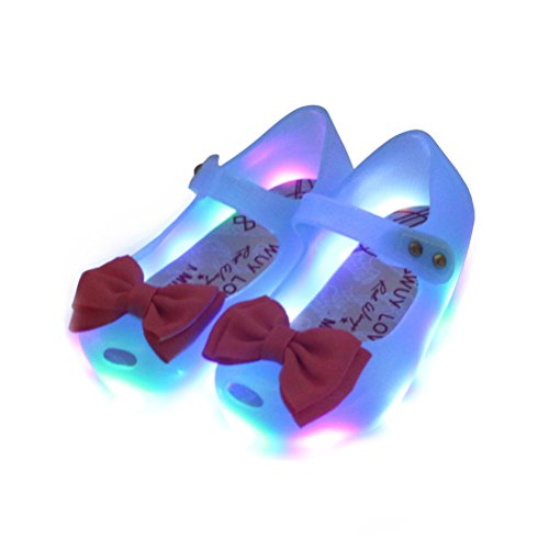 OMGard LED Lighting Cute Ribbon Bow Princess Sandals Jelly Shoes Kid Girl Gift Toddler (Princess Shoes For Toddlers)