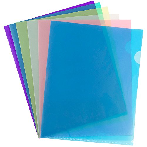 "JAM Paper Plastic Sleeves - 9"" x 11 1/2"" - Assorted Primary Colors (2 Sleeves per Color) - 12 Sleeves/Pack"