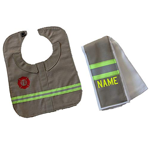 Personalized Firefighter Baby Tan Burp Rag and Bib Set