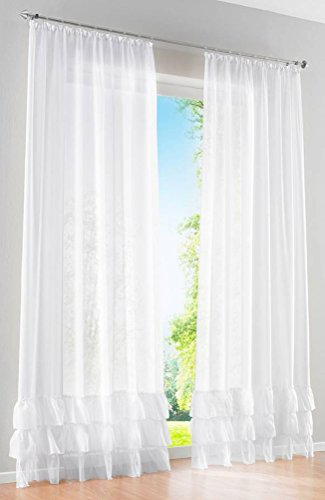 Voile Panel Skirt - LivebyCare 1 Pcs Ruffles Skirt Sheer Window Panel Curtain Drapery Treatment Hook Top Voil Drape Room Divider Partition Decorative Vanlance Pelmet for Bedroom Drawing Room