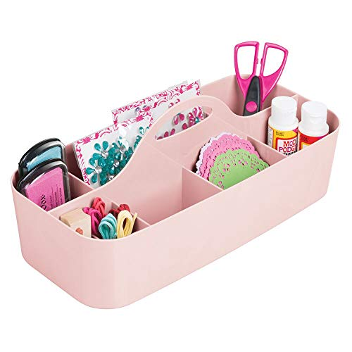 mDesign Plastic Portable Craft Storage Organizer Caddy Tote, Divided Basket Bin for Craft, Sewing, Art Supplies – Holds Paint Brushes, Colored Pencils, Stickers, Glue – Large – Pink/Blush